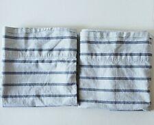 Ralph Lauren Blue White Ticking Stripe King Pillowcases Pair (2) Cottage Coastal