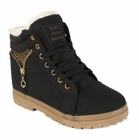 New Ladies Ankle Womens Girls Boots Trainers Gold Stud Zip Shoes UK 3 4 5 6 7 8