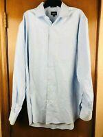 Neiman Marcus Light Blue Dress Shirt 16 - 34/35 Woven Gingham Checks Classic