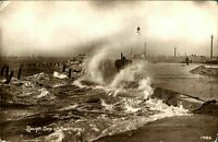 Rough Sea at Southsea antique real photograph postcard Hampshire
