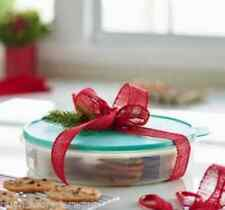 """Tupperware 12"""" Pie Cookies Cupcake & Pizza Container Sheer + Mint Green Seal New"""