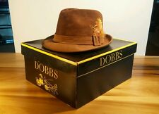 Vintage Leather Suede Fedora Gangster Hat W/Box Dobbs sz 7 PERFECT!
