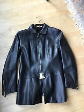 St John Coat Collection by Griffith Gray, black leather jacket size 6, gold zip