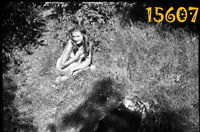 vintage negative! sexy girl posing in forest, panties, lingerie 1960's Hungary