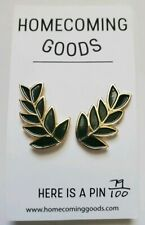 Green Leaves ~ Homecoming Goods New Fashion Enamel Pins Pair of Laurel