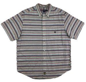 Chaps Ralph Lauren Button Shirt Men's XL Short Sleeve Red Blue Striped