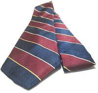 VAN HEUSEN Necktie Tie 100% Silk Blue, Red, Yellow, Gray Striped