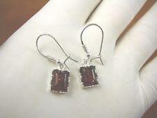 Sterling Silver dangle leverback Earrings (Pe24-23) orange Amber rectangle 925