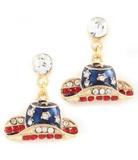 Cowgirl Hat Patriotic Crystals Rodeo Texas USA Enamel Earrings   Goldtone RWB
