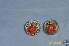 Goldtone & Enamel Lady Bug Ladybug Pierced Earrings