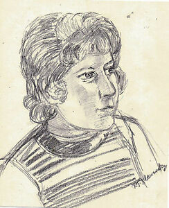 """""""PORTRAIT OF A GIRL"""" by Ruth Freeman Charcoal SKETCH  8 1/4"""" X 9 3/4"""""""