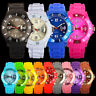 UNISEX SILICONE RUBBER JELLY WRIST WATCH WITH DATE FOR ADULT BOYS GIRLS KID GIFT