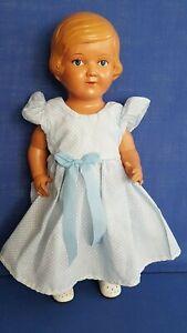 nette STORCH Puppe blonde HELGA 35 cm in Kleidchen  / Spielspuren