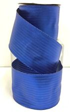 "Blue Metallic Wired Ribbon~Textured Lines~2 1/2"" W x 10 yd"