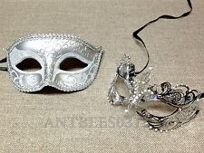 Men Women Couple Silver Carnival Metal and Glitter Venetian Masquerade Mask