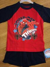 Officiel Spiderman Thwipp Garçons Court Pyjamas Bnwt Rouge Bleu Marine 100% coton 9-10yrs