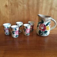 rare VTG. Juice pitcher & 5 glasses, NASCO Pottery Ceramic, Hand Painted, Japan