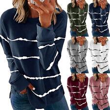 Women Casual Stripe Print T Shirt Long Sleeve Crew Neck Blouse Loose Tunic Tops