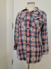 SuperDry Blue And Pink Check Shirt Large