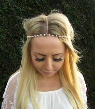 Gold Pearl Headband Boho Festival Hair Jewellery Head Chain Elasticated Vtg 1728