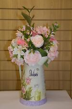 Beautiful Floral Arrangement in Large Metal Milk Jug - Home Decoration