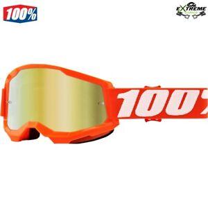 MASCHERA OCCHIALI ARANCIONE LENTE SPECCHIO ORO 100% STRATA 2 MOTOCROSS KTM MX