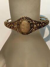 Vintage Signed Florenza Cameo Floral Filigree Hinged Bangle Bracelet
