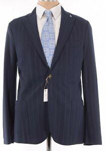 Eleventy NWT Soft Jacket / Sport Coat Size 44R Blue Gray Stripe Jersey Stretch