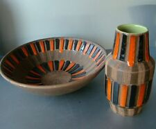 50's Italy Schiavon Vase Plate MidCentury Keramik Pottery Fratelli Fanciullacci