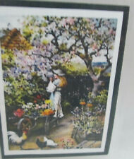 Dollhouse Miniature Frame Girl and Cat Mural Wall Painting Picture Decor new TE