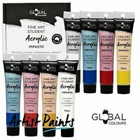 8 Colour 75ml PAINT TUBE SET Global Colours Student Fine Art Acrylic Colors