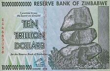 ZIMBABWE 10 TRILLION DOLLAR BILL 2008 Mint High Inflation Banknote Uncirculated