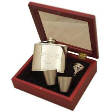Jack Daniels - Old No.7 Brand Hip Flask Gift Set In Wooden Box - New & Official