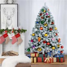 6ft/7.5ft Unlit Premium Snow Flocked Hinged Artificial Xmas Christmas Pine Tree