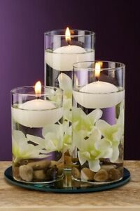 Floating Candle Set 3 Holders Floral Table Ornamental Wedding Decoration White