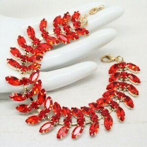 Beautiful Vintage Art Deco Revival Fire Ruby Red Rhinestone BRACELET Jewellery