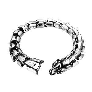 Gothic Punk Men's Stainless Steel Dragon Bracelet Bangle Wristband Heavy