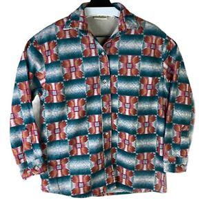 Vintage Cabelas Womens Multicolor Aztec Flannel Casual Button Up Shirt Size M