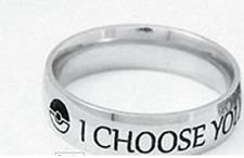 POKEMON GO I CHOOSE YOU WEDDING OR BAND RING STAINLESS STEEL ONE PER ORDER 5.5
