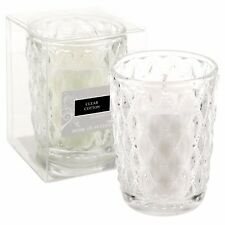 2 x 15 Hour White Cotton Scented Wedding Candles in Glass Jar Holder Fragranced