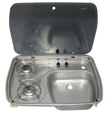 Boat Caravan Camper 2 Burner Gas Stove Hob and Sink Combo With Glass Lid GR-588