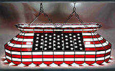 American Flag Red White Blue Made in USA Stained Glass Pool Table Light Lamp