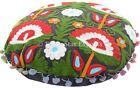 "Indian Round 16"" Suzani Floor Cushion Vintage Mandala Embroidered Pillow Cases"