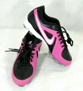 NIKE Girls Unify Keystone Softball Cleat Shoe Black Pink Sz 5 Y 535595-016