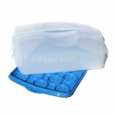 Tupperware B2B Large Rectangle Cake Cup Muffin Taker Blue with Carry Handle