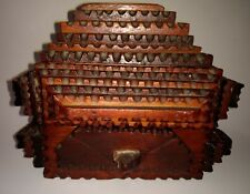 Tramp Folk Art Wooden Box Secret Compartment Signed ChipCarved Tea Caddy Tobacco