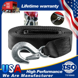"""2""""*20' 10000LBS MAX DELUXE BOAT JET TRAILER REPLACEMENT WINCH STRAP W/SNAP HOOK"""