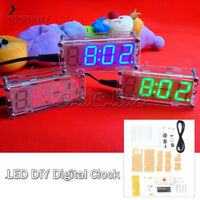 DIY kit Red/Blue/Green LED Electronic Clock microcontroller Time Thermometer