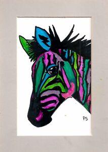 Colorful Zebra Alcohol Inks Original Art Painting 4x6 w/mat 5x7 by Penny StewArt