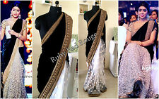 ACTUAL PICTURES LISTED-Indian Bollywood Designer Black Velvet Saree Sari